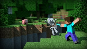 Minecraft Mojang Skeleton Steve Minecraft 1920x1080 Wallpaper