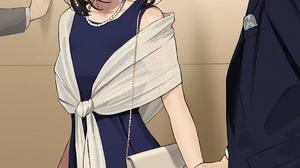 Yomu Anime Girls Anime Brunette Holding Hands Dress Necklace Purse Dark Eyes 1073x1500 Wallpaper