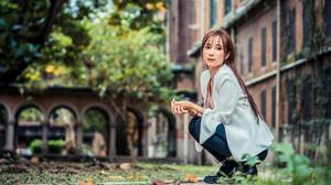 Asian Women Model Long Hair Brunette Depth Of Field Blazer Blouse Bracelets Earring Trees Bushes Bui 3840x2561 wallpaper
