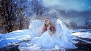 Women Model Angel Wings Inked Girls Blonde Women Outdoors Outdoors Looking Into The Distance Sitting 2048x1367 Wallpaper