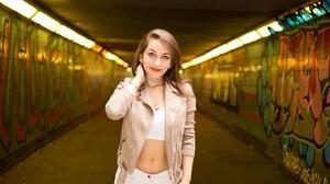 Crop Top Bare Midriff Tunnel Graffiti 5472x3078 wallpaper