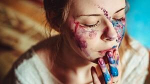 Momorozov Mo Face Paint Closed Eyes Brunette Depth Of Field Face Women 4288x2848 Wallpaper