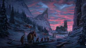 Artwork Digital Art Fantasy Art Castle Snow Trees 2162x1114 Wallpaper