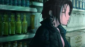 Anime Anime Girls Dark Hair Brown Eyes Tattoo Piercing Looking Away Short Hair Magazines Beer Black  4000x2000 wallpaper