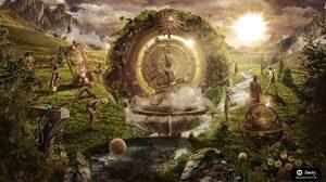 Clock Fantasy Landscape Man Sun 2560x1440 Wallpaper
