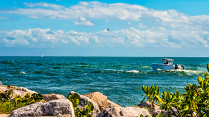 Boat Florida Horizon Ocean Sea Vehicle 3340x1700 Wallpaper