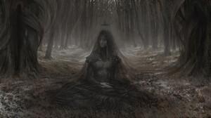 Artem Demura Dark Digital Art Fantasy Art Forest Snow Crown Veils Black Dress 1920x885 Wallpaper