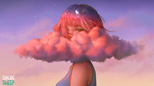 Artwork Women Clouds Space Karmen Loh Fantasy Art Pink Clouds Half Moon Stars Pink Hair 2D Short Hai 1508x868 Wallpaper