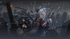 Anime Girls Video Game Art Liskam Arknights Arknights Loftcat Horns Grey Hair Orange Eyes Shield Gun 3516x1758 Wallpaper