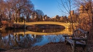 Bench Bow Bridge Bridge New York Pond Usa 4739x3159 Wallpaper