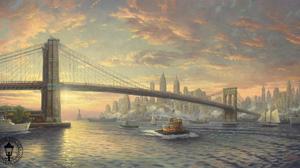 Artistic Boat Bridge Brooklyn Bridge City New York Painting Usa 2042x1080 Wallpaper