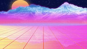 Vaporwave Synthwave Retrowave Moon Stars Mountains Grid 1920x1080 Wallpaper