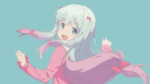 Anime Anime Girls White Skin Izumi Sagiri Simple Background Blue Eyes Eromanga Sensei Artwork White  1920x1080 Wallpaper