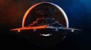 Planet Space Spaceship Star Destroyer Star Wars 4096x1732 Wallpaper