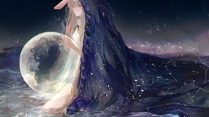 Anime Anime Girls Planet Bunny Ears Blonde Long Hair In Water Space Stars Red Eyes Cloack Fantasy Ar 4096x3005 Wallpaper