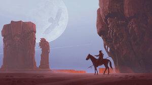 Alexey Egorov Digital Art Fantasy Art Moon Native Americans Horse Rock Formation Birds Contrail 1707x800 Wallpaper