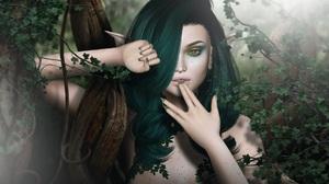 Elf Fairy Forest Girl Green Hair Woman 1920x1080 Wallpaper