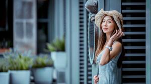 Woman Model Hat Brunette Depth Of Field 4562x3043 Wallpaper