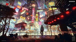 Solarliu City Architecture Science Fiction Digital Art 4K Rain Cityscape Cyberpunk Artwork 3200x1800 Wallpaper