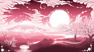 Fredrik Persson Digital Art Clouds Nature Cherry Blossom River Bridge 1920x1080 Wallpaper