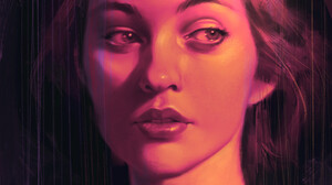 Portrait Looking At The Side Women Drawing Digital Painting Artwork Digital Art Open Mouth Portrait  3840x4969 wallpaper
