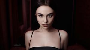 Women Model Brunette Brown Eyes Looking At Viewer Face Portrait Indoors Depth Of Field Dress Dark Be 2560x1708 wallpaper