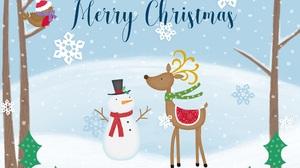 Snowman Merry Christmas Reindeer Snowflake 3600x2762 Wallpaper