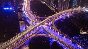 Aerial China Highway Light Night Road Shanghai 2507x1672 Wallpaper