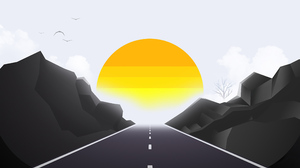 Minimalist Road Sun Sunrise 3840x2458 Wallpaper