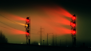Lights Railway Train Mist Traffic Lights Power Lines 3000x1688 Wallpaper