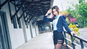 Asian Model Women Long Hair Dark Hair Black Skirts Railings Leaning Nylons Blouse Ponytail Depth Of  2048x1367 Wallpaper