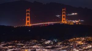 Usa California San Francisco Night Bridge 3840x2160 Wallpaper