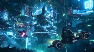 Daniel Liang Artwork ArtStation Futuristic Science Fiction Futuristic City Cityscape Vehicle Digital 3840x1617 wallpaper