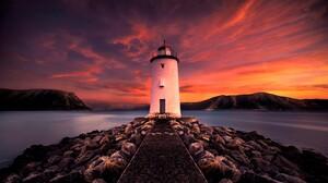 Building Lighthouse Mountain Rock Sea Sunset 3840x2160 Wallpaper