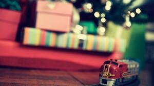 Train Presents Christmas Tree Depth Of Field Toys Bokeh Christmas Miniatures 1920x1200 wallpaper