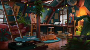 Dog Vinyl Ladder Hugo Barret Castan Couch Attics Flowerpot Plants Books Paint Can Raccoons 3840x2160 Wallpaper