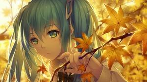 Hatsune Miku Anime Vocaloid Anime Girls Fan Art Artwork Digital Art Long Hair Twintails Bangs Fall T 1920x1357 wallpaper