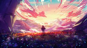 Christian Benavides Digital Art Fantasy Art Traveler Backpacks Clouds Sunrise Flowers Mountains 3840x2160 Wallpaper