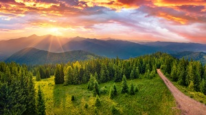 Landscape Mountains Nature Summer Sun Sunset Valley Trees Road Forest Clouds Hills Sky Green 8500x5823 Wallpaper