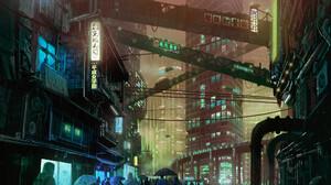Armin Rangani City Building People Wet Street Cyberpunk Umbrella Digital Painting Artwork City Light 2000x2000 Wallpaper