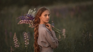 Women Women Outdoors Long Hair Redhead Looking At Viewer Flowers Nature Braided Hair Oleg Rodin 2560x1708 Wallpaper