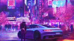 Frank Hong Cyberpunk Car Rain Street Umbrella Sega 1920x1690 Wallpaper