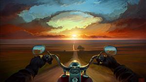 Bike Landscape Motorcycle Road Sunset 1920x1080 Wallpaper