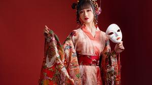 Asian Brunette Girl Kimono Lipstick Mask Model Woman 3840x2555 Wallpaper
