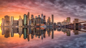 Bridge Brooklyn Bridge Building City Manhattan New York Reflection Skyscraper Sunset Usa 2499x1158 Wallpaper