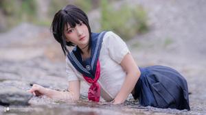 Asian Model Women Long Hair Depth Of Field Short Hair School Uniform River Lying Down Sailor Uniform 5120x2880 Wallpaper