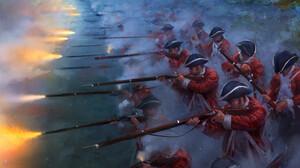 Artwork War Rifles Musket Red Coat England 3401x4500 wallpaper