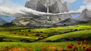 Nature Field Poppy Mountain Cloud Waterfall 4000x1536 Wallpaper
