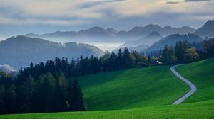 Cloud Fall Field Fog Forest Hill Mountain Road 3840x2160 Wallpaper