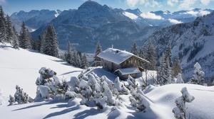 Austria Nature Mountains Winter Snow Ice Cold Hut 2500x1668 Wallpaper